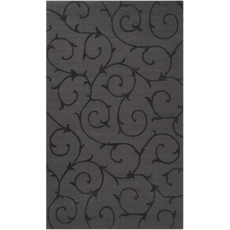 5' x 8' Swirls and Twirls Dark Brown Hand Loomed Wool Area Throw (Hand Blown Swirl)
