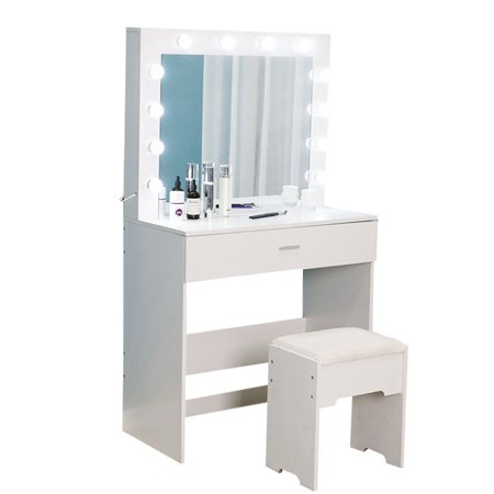 BEFOKA Vanity Set With Lighted Mirror Cushioned Stool Dressing Table Makeup Table Wood Jewelry Desk with Stool for Bedroom (White)