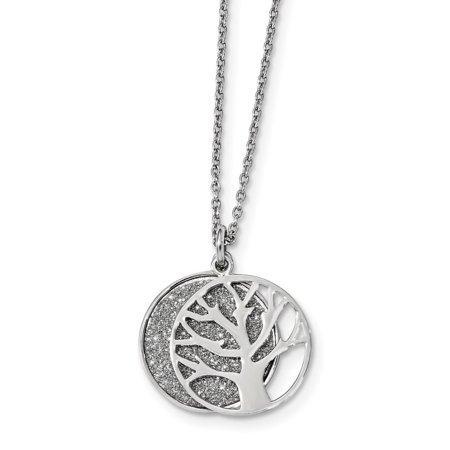 "Sterling Silver Enamel Glitter Fabric 2-piece Tree Necklace Chain 18"" (1.25mm)"