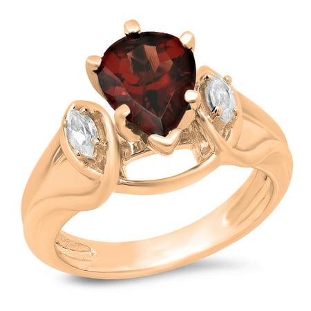 1.75 Carat (ctw) 14K Rose Gold Pear Cut Garnet & Marquise Cut White Topaz Ladies Bridal 3 Stone Engagement Ring 1 3/4 CT 1/2 Ct Marquise Cut Ring