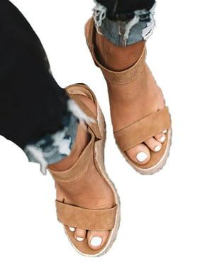 Women Wedge Heel Platform S Sandals Buckle Peep Toe Shoes Summer Beach