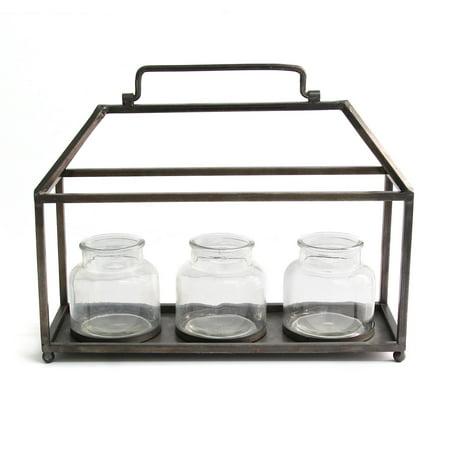 Stratton Home Decor Metal House with Glass Vase Centerpiece - Farm Centerpieces