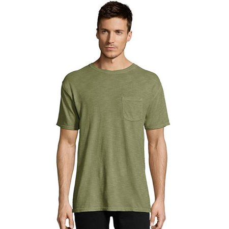Hanes 738994561398 Mens 1901 Heritage Dyed Tall Short Sleeve Crewneck Pocket Tee, Olive Leaves - 3XT - image 1 de 1