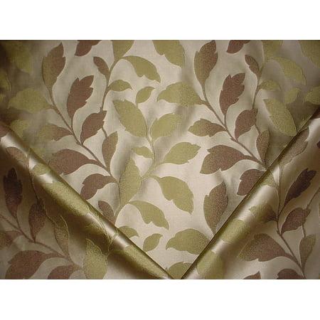 13H9 - Metallic Gold / Metallic Silver Leaf Faux Silk Damask Designer Upholstery Drapery Fabric - By the Yard (Gold Damask Fabric)
