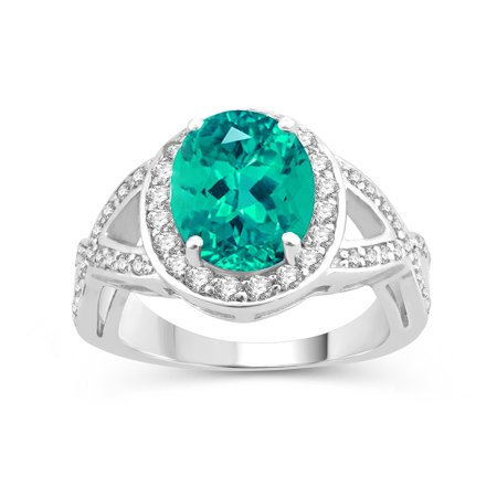 Sterling Silver with Paraiba Tourmaline and Natural White Topaz Anniversary Topaz Ring