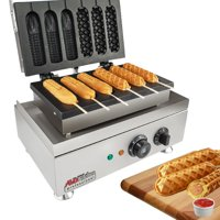 Hot Dog Waffle Maker Commercial 6 PCS Lolly French Hotdog molds 110v | stainless steel Crispy Baking Corn Dog, Sausage Waffles Non-Stick Maker Machine Electric Muffin by ALDKitchen (MANUAL)