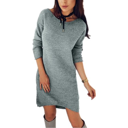Winter Weekend Dresses (Long Sleeve Solid Color Women Autumn Winter Casual Bottoming)