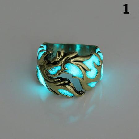 Dragon Ring Jewelry (LANBOWO 1 Pcs Men Dragon Ring Circle Finger Hoop Luminous Glow in the Dark Gift Jewelry)