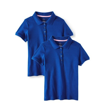 Girls School Uniform Short Sleeve Interlock Polo, 2-Pack Value (Red Plaid School Girl)