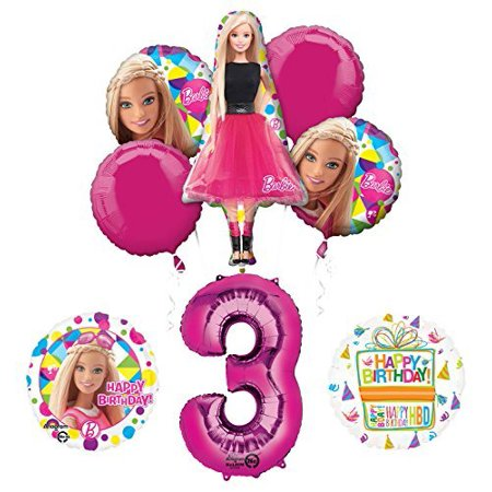 Barbie 3rd Birthday Party Supplies and Balloon Bouquet Decorations for $<!---->