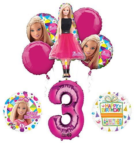 Barbie 3rd Birthday Party Supplies and Balloon Bouquet Decorations