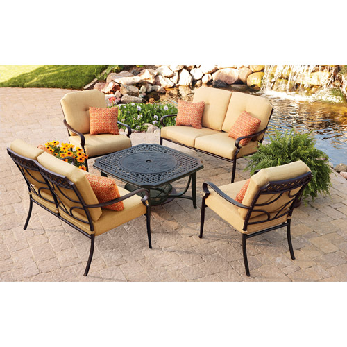 Better Homes and Gardens Paxton Place 5-Piece Outdoor Conversation Set with Fire Pit, Seats 6