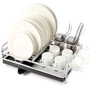 Miusco Dish Drying Rack, Aluminum Dish Drainer with Swivel Spout Draining System
