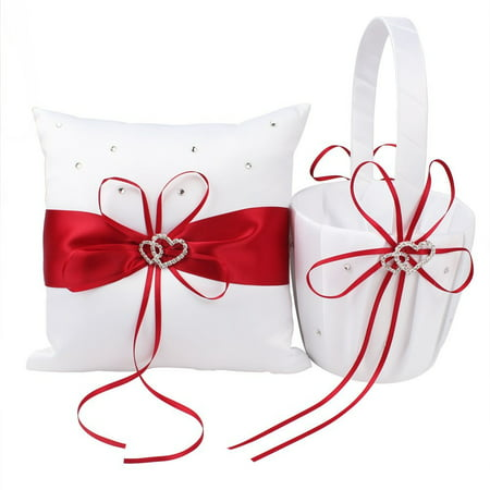 Fashion Basket Pillow Set Bowknot Flower Girls Baskets And Ring Pillows Suit For Wedding Decoration Accessories Party Supplies (Ring Pillows)