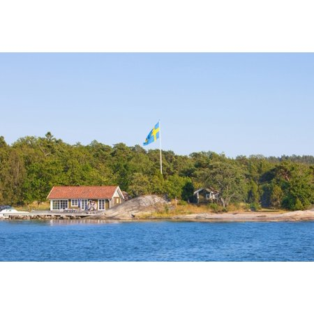9 Perfect Pole - Sweden Stockholm - House on island in archipelago with swedish flag on pole Stretched Canvas - Panoramic Images (27 x 9)