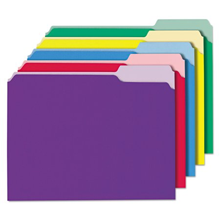 Universal Recycled Interior File Folders, 1/3 Cut Top Tab, Letter, Assorted, 100/Box -UNV12306](Colorful File Folders)