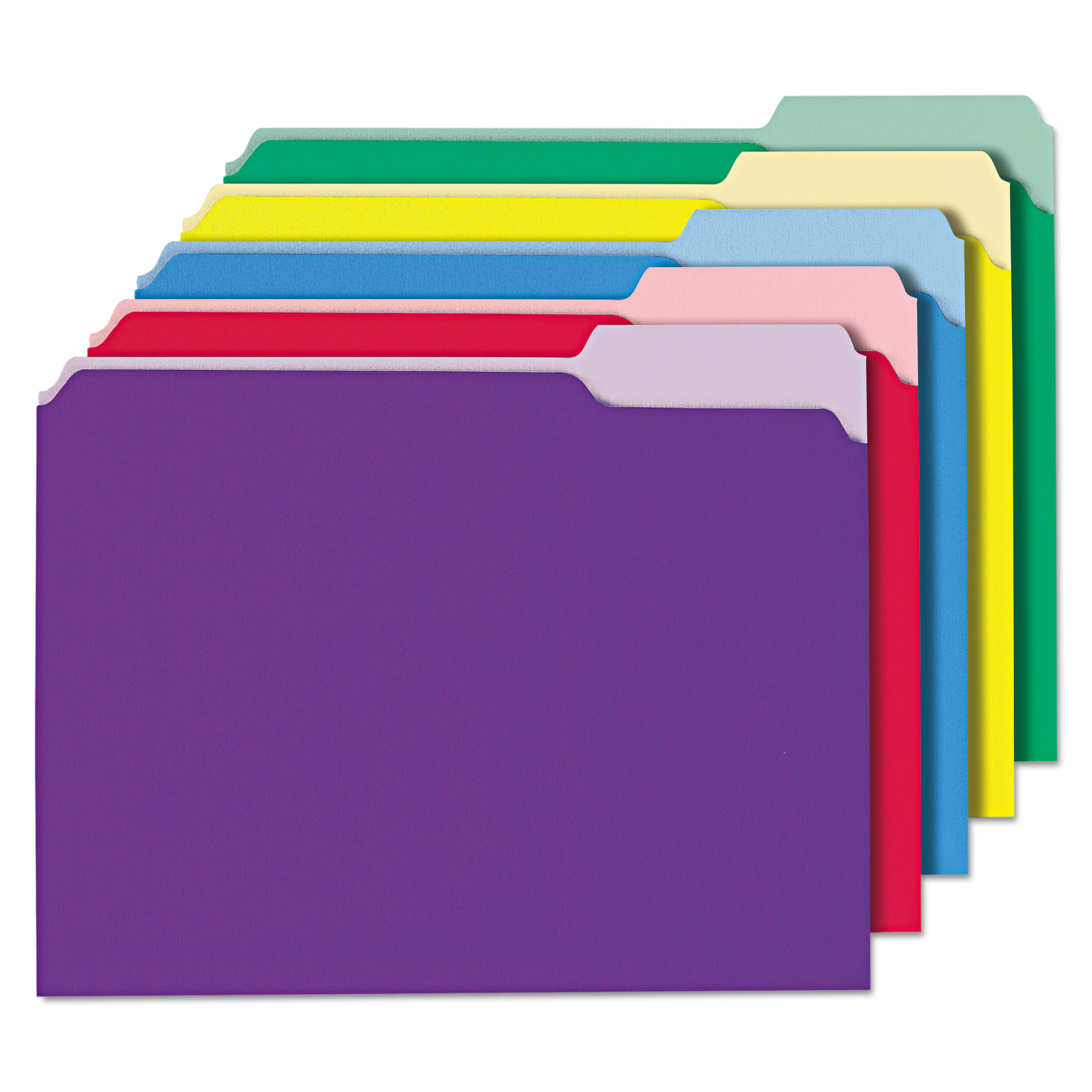 Universal Recycled Interior File Folders, 1/3 Cut Top Tab, Letter, Assorted, 100/Box -UNV12306