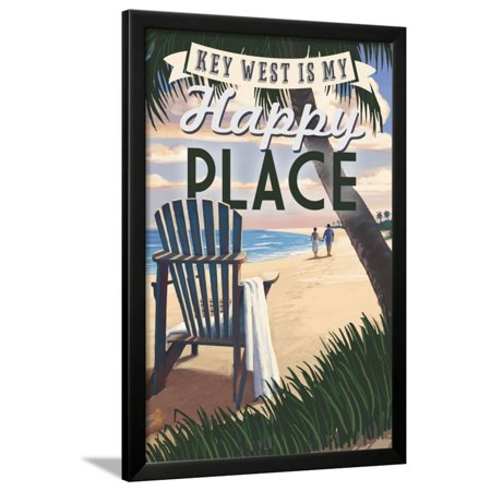 Key West, Florida is My Happy Place - Adirondack Chairs and Sunset - Florida Framed Print Wall Art By Lantern Press (Halloween Sunset Place)