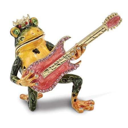 Bejeweled Frog - Bejeweled Frog with Guitar Trinket Box