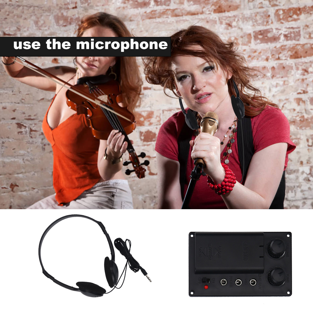 Electric Violin EQ Pickup Set with Headphone Output Cable Accessory Black Violin Pickup EQ Violin Pickup