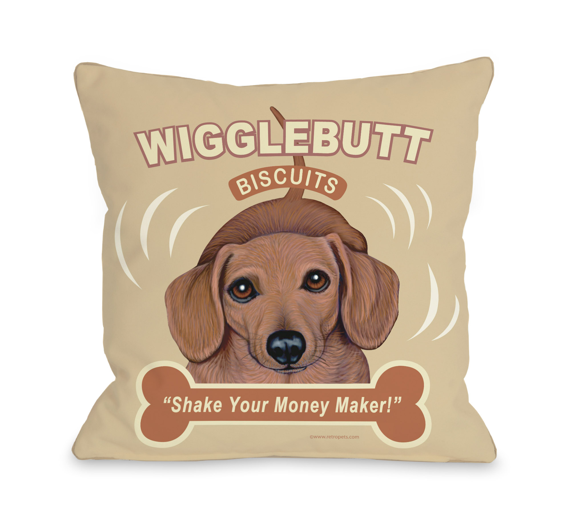 Wigglebutt 16x16 Pillow by Retro Pets