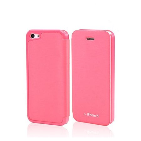 Hot Pink Melon Diary Flip Cover Hard Case W  Id Slot   Satin Cover For Apple Iphone 5 5S