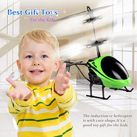 Mini RC Hand Induction Helicopter Radio Remote Control Flying Aircraft Flashing Light Toys For Kids USB Charged Airplanes Birthday Present Xmas Gift(Green)