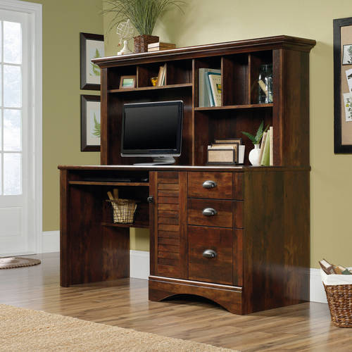 Sauder Harbor View Computer Desk with Hutch, Curado Cherry Finish