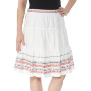 TOMMY HILFIGER Womens White Cotton Embroider Knee Length Skirt  Size: 4