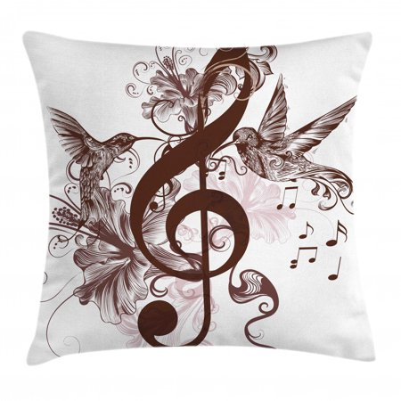 Music Decor Throw Pillow Cushion Cover, Cute Floral Design with Treble Clef and Singing Flying Birds Sparrows Artwork, Decorative Square Accent Pillow Case, 16 X 16 Inches, Red Brown, by Ambesonne