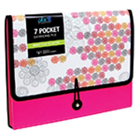 Insertable Tab Expanding File (DocIt Market Tiles 7 Pocket Expanding File Folder for Letter Size Document Storage, Fits Standard File Drawers, Pink (00937-PK) )