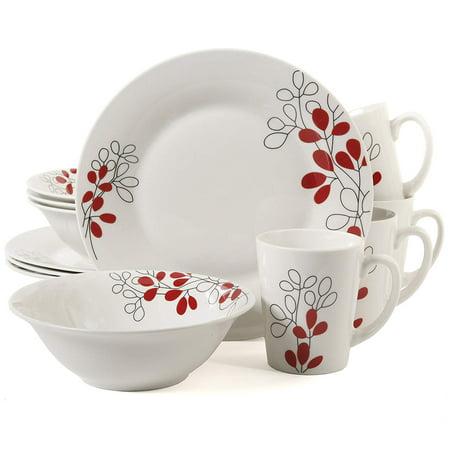 Scarlet Leaves 12 Piece Dinnerware Set, White, Set Includes: (4):9in Dinner Plates (4): 7in Soup Bowl (4): 9oz Mug By Gibson Home