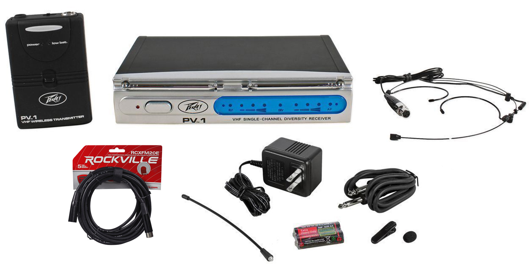 Peavey PV-1 U1 BHS 911.70MHZ UHF Wireless Headset Microphone System + XLR Cables by Peavey