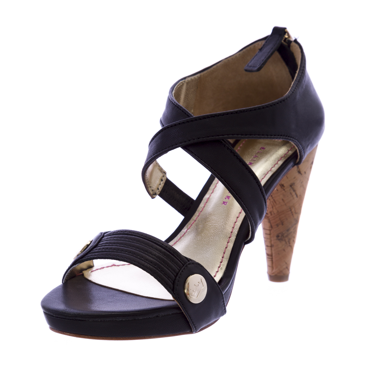 ELAINE TURNER Claudia Strappy Bamboo Heel Sandals Black