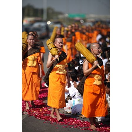 Peel-n-Stick Poster of Robes Monks Orange Thai Walk Buddhists Buddhism Poster 24x16 Adhesive Sticker Poster Print - Monk Robes