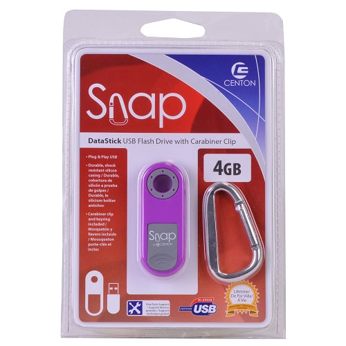 Centon Snap MPS4GBPURL1-BP DataStick 4GB USB 2.0 Thumb Flash Drive (Pink)