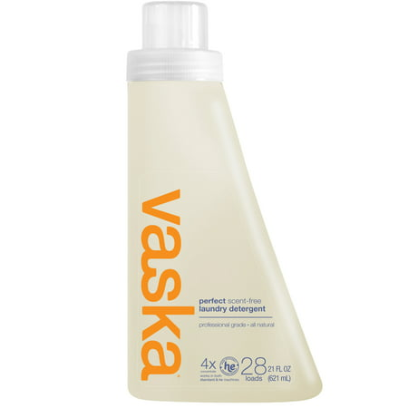 Vaska 4X Laundry Detergent, Scent Free, 28 Loads