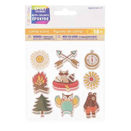 Give kids a colorful way to decorate projects with these camp icon stickers. The epoxy material gives them a shiny look that's great for scrapbooking.](Scrapbook Materials)