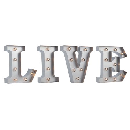 Fantado Silver Marquee Light 'LIVE' LED Metal Sign (8 Inch, Battery Operated w/ Timer) by PaperLanternStore ()