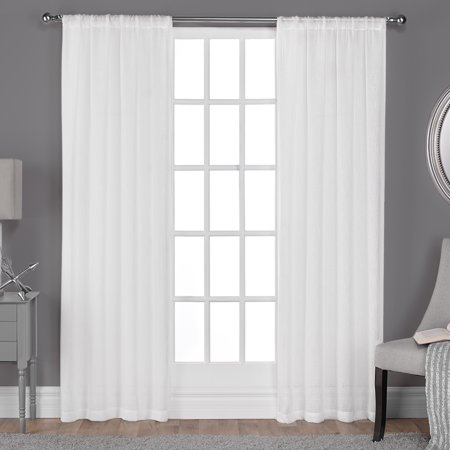 Exclusive Home Curtains 2 Pack Belgian Textured Linen Look Jacquard Sheer Rod Pocket Curtain Panels
