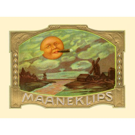 Inner box label to the cigar brand Maaneklips  A sun puffs on a cigar above Dutch windmills  The clouds around appear as if created by the suns smoking Poster Print by unknown (Cigar Puff)