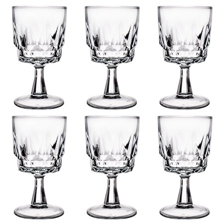 6 Arcoroc 8oz Artic Wine Glasses Wholesale Bulk Lot Restaurant Bar Faceted Drink by