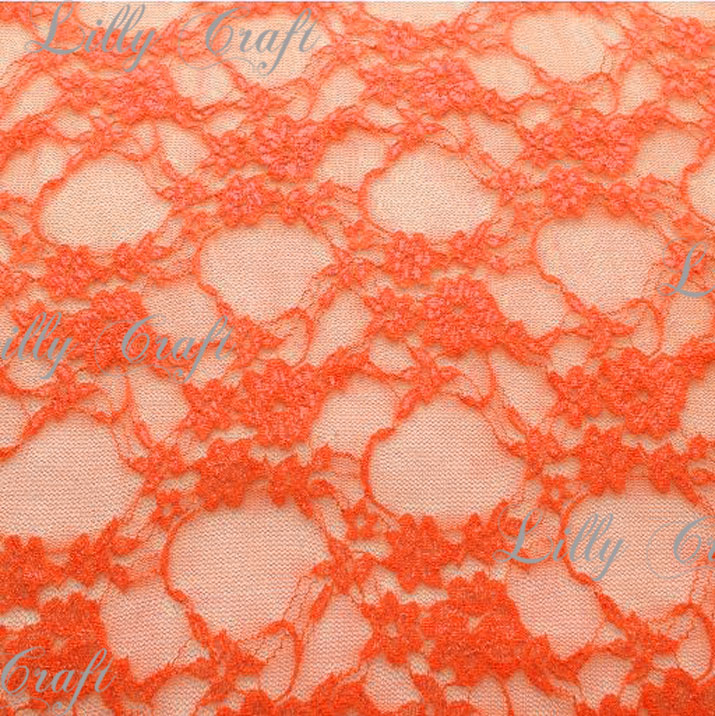 Neon Orange Giselle STRETCH Lace 58 Inch Fabric Sold by the Yard