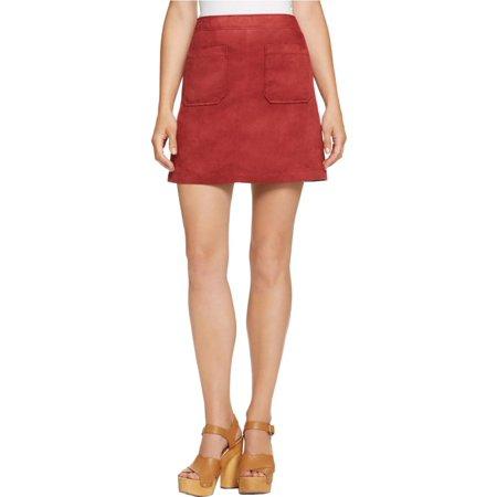 Sanctuary Womens Mini Faux Suede A-Line Skirt - Faux Fur Skirt