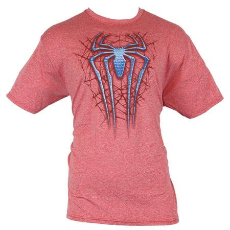 Spider-Man (Marvel Comics) Moisture Wicking Mens T-Shirt - Blue Logo Over Web