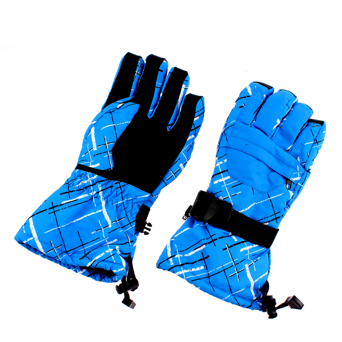 XL Winter Waterproof Worm Men Snow Skiing Full Finger Gloves Blue Graffiti Pair
