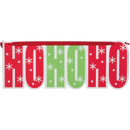 Hanging Ho Ho Ho Sign Christmas Decoration - Red And White Streamers