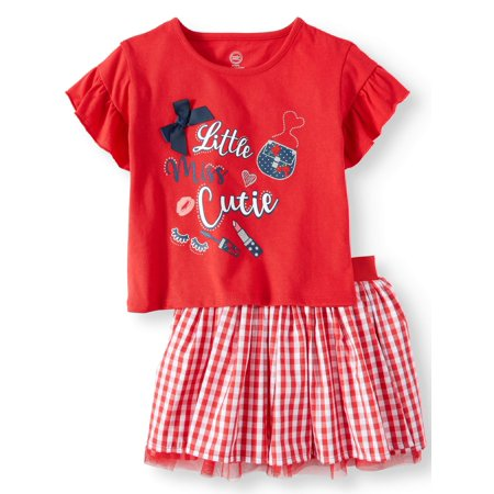 Wonder Nation Ruffle Sleeve Top & Reversible Skirt, 2pc Outfit Set (Toddler Girls)