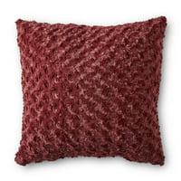 """Better Homes & Gardens Rosette Plush Decorative Toss Pillow, 18"""" x 18"""", Cabernet"""