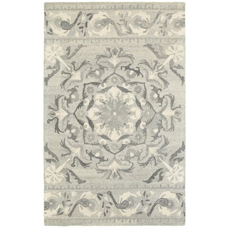 Sphinx Craft Area Rugs - 93001 Contemporary Ash Rings Swirls Curls Banded Rug
